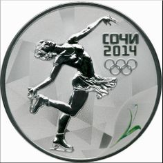 """3 rubles - Figure Skating The reverse: in the central part of the disc - the relief image of a lady figure skater, to the right of it - inscription: """"СОЧИ"""" (SOCHI), the date: """"2014"""" and five Olympic rings in three lines, below to the right, at the edge - colored image of a inflorescence of the Voronov snowdrop."""