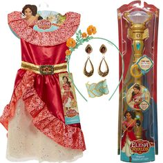 DISNEY PRINCESS DRESS ELENA AVALOR MAGICAL SCEPTER COMPLETE OUTFIT GIRLS LOT #Disney