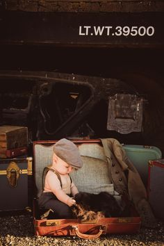Subject: Baby Asher (Photographer/copyright Elise Aileen Photography. eliseaileen.com ) Baby photos. 6 Month pictures Baby Boy Train Tracks Vintage Mother Steampunk Victorian Edwardian Suspenders Hat Suitcase Trunk Ideas Creative Inspiration
