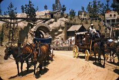 First up is this exceptional shot featuring a Conestoga Wagon and a Stage Coach. Disneyland History, Disneyland World, Disneyland Rides, Vintage Disneyland, Old Disney, Disney Fun, Disney Stuff, Disney Magic Kingdom, Disney Facts