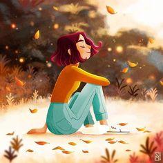 Illustration Waiting for fall Autumn Leaves Marie Vanderbemden Art Anime Fille, Anime Art Girl, Fall Drawings, Cute Drawings, Cartoon Art Styles, Cartoon Drawings, Leaves Illustration, Alone Art, Art Mignon