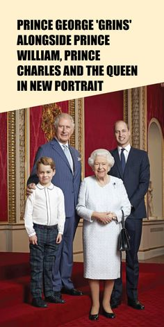 Prince George 'Grins' Alongside Prince William, Prince Charles And The Queen In New Portrait - Taste Every Season Old Prince, Prince Henry, Prince Charles, Navy Pinstripe Suit, Kate Middleton News, Commemorative Stamps, Royal Babies, William Kate, Queen Elizabeth