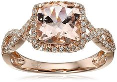 14k Diamond Cushion Infinity Shank Engagement Ring (1/4cttw, H-I Color, I1-I2 Clarity), Size 7. This shimmering 1.8 carat Morganite and 0.27 cttw diamond ring sets the tone for elegance. The cushion-cut Morganite focal point is so stately, and the looped, openwork band lathered in diamonds adds a fabulously feminine dimension to this stunning creation. #rose #gold #engagement #ring #womens