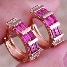 Good-Looking Red Ruby White Topaz 18K Yellow Gold Plated Fashion Jewelry Huggie Hoop Earrings For Women P671  #rings #weddingbands #weddingjewelry #jewellery #earrings