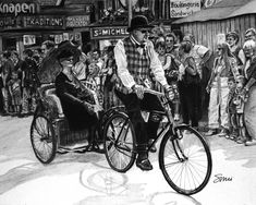 - - - - #art #pencil #drawing #artist #pencildrawing #graphitedrawing #realisticart #realism #blackandwhite #illustration #artistsonpinterest #picoftheday #bnwportraits #portraitdrawing #pencilart #graphite #realisticdrawing #woman #man #hat #bicycle #crowd #parade #oldtime #liege #belgique Pencil Art, Pencil Drawings, Painting, Folk Dance, Painting Art, Paintings, Painted Canvas, Drawings