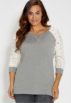 plus size french terry pullover with neon patterned sleeves (original price, $34) available at #Maurices