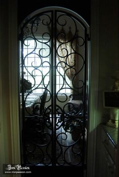 wrought iron gate to dining room