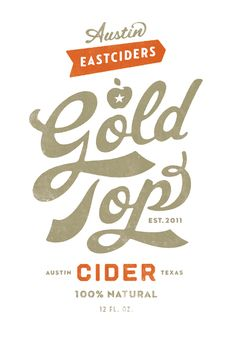 In Simon Walker's work, he uses hand drawn typography and illustrations, as seen here in the label designs for Gold Top Cider.