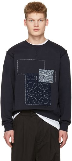 LOEWE Indigo Anagram Patches Pullover. #loewe #cloth #pullover