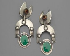 Pair of earrings  about 1955  By Sam Kramer, American, 1913–1964  By Charles Wendell, American, 1919–1993. Silver, copper and green stone