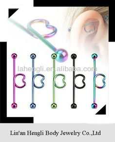 3 piece industrial piercing | Titanium Anodized Industrial Barbell earring with Heart shape in the ...