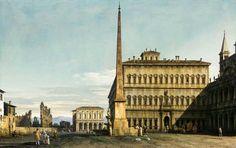 Bernardo Bellotto , italian period Rome: View of the Piazza di San Giovanni in Laterano,1744  #rococo #venetianschool #cityscape