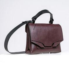 Medium Slashed Bag in wine burgundy for #AW17   #leather #flapbag #burgundy #wine #black or burgundy strap #colour option #lindasieto Burgundy Wine, Aw17, Messenger Bag, Satchel, Satchel Purse, Backpack
