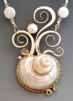 Necklace Jewelry gallery one of a kinds - barbara umbel jewelry design Seashell Jewelry, Beach Jewelry, Wire Jewelry, Jewelry Crafts, Jewelry Art, Silver Jewelry, Jewelry Accessories, Jewelry Necklaces, Jewelry Design