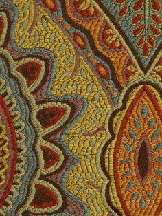 Tissu d'ameublement de l'ikat by the Yard - tissu bleu sarcelle jaune rouge - tissu Ikat pour meubles - tissu multicolore Yardage