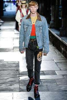 I don't like the studs, but I love the mix of fake fur with denim. Gucci Resort 2017 Fashion Show