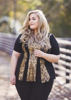 f59aece557a Plus Size Clothing for Women - Loey Lane Glitz and Gold Top (Sizes 14 -