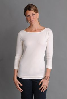 SALE - Three Dots Fitted British Boatneck Tee with Sleeves Three Dots, Tee Shirts, Tees, Eileen Fisher, Boat Neck, Tunic Tops, British, Fitness, Casual