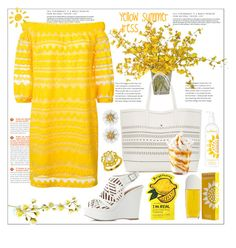 """""""Yellow dress"""" by natalyapril1976 ❤ liked on Polyvore featuring The French Bee, Trina Turk, Charlotte Russe and Elizabeth Arden"""