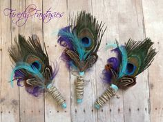 Country Rustic Peacock Boutonniere  Men's by FireflyFantasies1, $36.95