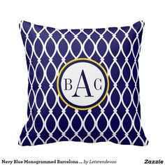 Navy Blue Monogrammed Barcelona Print Pillow