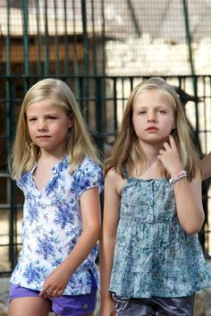 "Princess Leonor of Spain (R) and Princess Sofia of Spain (L) visit ""La Granja"" (Big Historical Mansion) on August 5, 2013 in Esporles, Palma de Mallorca, Spain."