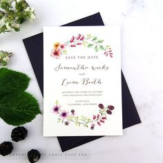Rustic Blackberry wedding save the date Country garden