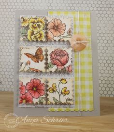 Anya - Life is What You Make It - used Serendipity Stamps Pansy, Geranium, Zinnia, English Rose, and Sweet Pea rubber stamps to make her card