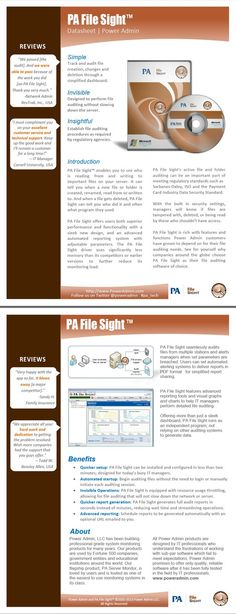 PA File Sight™ Product Data Sheet. File Monitoring Software: benefits, features, and more details.