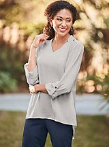 Pullover Blouse | Blair I like the neckline, the button and tabs at shoulders and the longer bottom in back