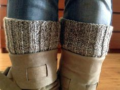 Easy rib knit boot cuffs. Worked flat.