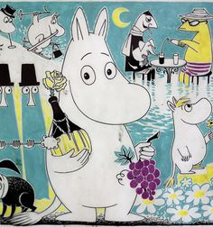 moomintroll Original drawings by Tove Jansson in an exhibition of her work at the Centre Belge de la Bande Dessinée. Steampunk Illustration, Illustration Art, Moomin Valley, Tove Jansson, Fantasy Fiction, A Comics, Illustrators, Fairy Tales, Helsinki
