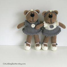 Flower Girl Gift Bear  Hand Knitted Stuffed by cotuitbayknitter