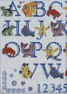 Under the sea cross stitch alphabet - would be a good gift for Gavin!