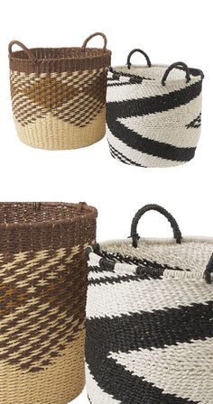 Laundry, toys, magazines, potted houseplants... The workhorses of the home, these attractive woven baskets are ready for whatever your life throws their way. Sturdy handles make portability a cinch.  Find the Idris Grass Storage Baskets - Set of 2, as seen in the Handwoven Bohemian Home Collection at http://dotandbo.com/collections/handwoven-bohemian-home?utm_source=pinterest&utm_medium=organic&db_sku=119066