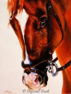 horse watercolor original art