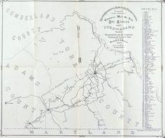 Ore Ranges in York & Adams Counties Pennsylvania Antique Map 1876