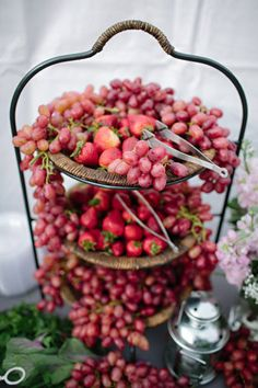 red fruits (strawberries + grapes) - Backyard Wedding from Troy Grover Photographers