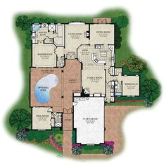 Perfect house plan: courtyard for privacy, small pool.  Why have everyone see you swim? Patio off dining room.