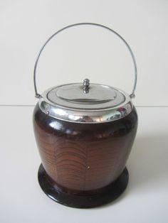 vintage retro oak wood and chrome ice bucket barrel breweriana bar  kitsch