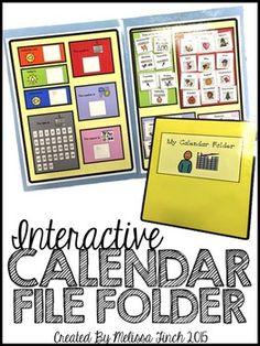 Calendar File Folder- Interactive Activities for Students with Autism Calendar Activities, File Folder Activities, Interactive Activities, Interactive Notebooks, Folder Games, Life Skills Classroom, Autism Classroom, Special Education Classroom, Classroom Ideas