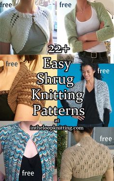 Knitting patterns for Easy Shrugs. Most patterns are free. These shrugs are knit in one or two pieces. Many of them are one knit as one rectangle and then seamed to create the armholes. No shaping, little seaming. These are great projects for beginners or any knitter looking for quick knitting gratification.