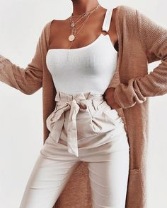 Bodysuit + Trousers via ad. Bodysuit: Summer Chic One Shoulder Bodysuit Trousers: Classic Paper Bag Skinny Pants Outfits pants Mode Outfits, Fashion Outfits, Womens Fashion, Woman Outfits, Club Outfits, Fashion Boots, Fashion Clothes, Cute Casual Outfits, Stylish Outfits