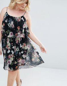 ASOS CURVE Tiered Dark Floral Mesh Mini Swing Dress