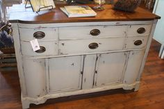Cottage Grey Buffet from Lovilee ReDesign's Chalky Style Finish Paint!