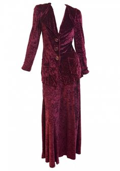 Lee Bender -1970s  Burgundy Velvet suit | Manhattan Vintage Clothing Show