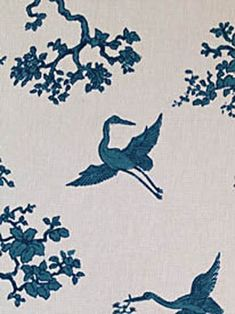 The Cranes from Florence Broadhurst via Signature Prints #fabric #cotton #blue