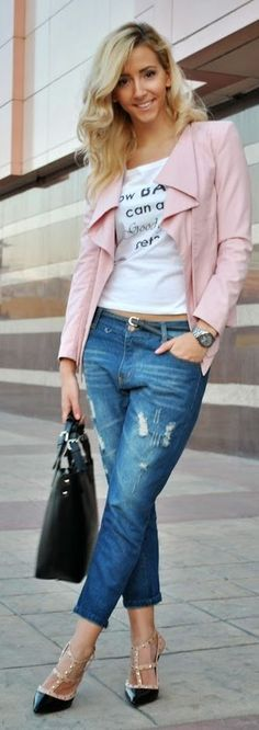 Sheinside Pink Tailored Blazer by Let's Talk About Fashion !