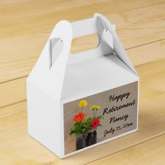 Mason Jar Gerbera Daisy Country Happy Retirement Favor Box
