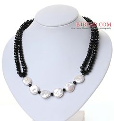 Lovely White Coin Pearl And Faceted Black Crystal String&Strand Necklace - Bjbead.com